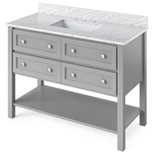 48'' W Grey Adler Single Bowl Vanity Base with White Carrara Marble Countertop and Undermount Rectangle Bowl, 49'' W x 22'' D x 36'' H