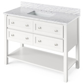 48'' W White Adler Single Bowl Vanity Base with White Carrara Marble Countertop and Undermount Rectangle Bowl, 49'' W x 22'' D x 36'' H