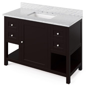 48'' W Espresso Astoria Single Bowl Vanity Base with White Carrara Marble Countertop and Undermount Rectangle Bowl, 49'' W x 22'' D x 36'' H