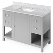 48'' W Grey Astoria Single Bowl Vanity Base with White Carrara Marble Countertop and Undermount Rectangle Bowl, 49'' W x 22'' D x 36'' H