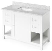 48'' W White Astoria Single Bowl Vanity Base with White Carrara Marble Countertop and Undermount Rectangle Bowl, 49'' W x 22'' D x 36'' H