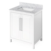 30'' W White Cade Single Bowl Vanity Base with White Carrara Marble Countertop and Undermount Rectangle Bowl, 31'' W x 22'' D x 36'' H