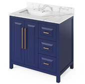 36'' W Hale Blue Cade Single Bowl Vanity Base with Calacatta Vienna Quartz Countertop and Left Offset Undermount Rectangle Bowl, 37'' W x 22'' D x 36'' H