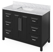 48'' W Black Cade Single Bowl Vanity Base with White Carrara Marble Countertop and Undermount Rectangle Bowl, 49'' W x 22'' D x 36'' H
