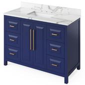 48'' W Hale Blue Cade Single Bowl Vanity Base with Calacatta Vienna Quartz Countertop and Undermount Rectangle Bowl, 49'' W x 22'' D x 36'' H