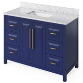 48'' W Hale Blue Cade Single Bowl Vanity Base with White Carrara Marble Countertop and Undermount Rectangle Bowl, 49'' W x 22'' D x 36'' H