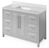 48'' W Grey Cade Single Bowl Vanity Base with White Carrara Marble Countertop and Undermount Rectangle Bowl, 49'' W x 22'' D x 36'' H