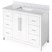 48'' W White Cade Single Bowl Vanity Base with White Carrara Marble Countertop and Undermount Rectangle Bowl, 49'' W x 22'' D x 36'' H