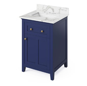 24'' W Hale Blue Chatham Single Bowl Vanity Base with Calacatta Vienna Quartz Countertop and Undermount Rectangle Bowl, 25'' W x 22'' D x 36'' H
