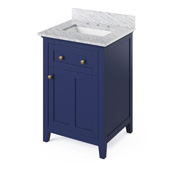24'' W Hale Blue Chatham Single Bowl Vanity Base with White Carrara Marble Countertop and Undermount Rectangle Bowl, 25'' W x 22'' D x 36'' H