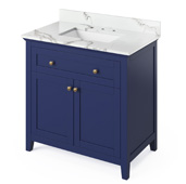 36'' W Hale Blue Chatham Single Bowl Vanity Base with Calacatta Vienna Quartz Countertop and Undermount Rectangle Bowl, 37'' W x 22'' D x 36'' H