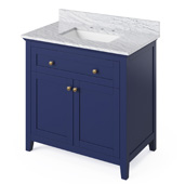 36'' W Hale Blue Chatham Single Bowl Vanity Base with White Carrara Marble Countertop and Undermount Rectangle Bowl, 37'' W x 22'' D x 36'' H