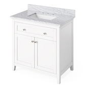 36'' W White Chatham Single Bowl Vanity Base with White Carrara Marble Countertop and Undermount Rectangle Bowl, 37'' W x 22'' D x 36'' H
