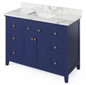 48'' W Hale Blue Chatham Single Bowl Vanity Base with Calacatta Vienna Quartz Countertop and Undermount Rectangle Bowl, 49'' W x 22'' D x 36'' H