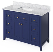 48'' W Hale Blue Chatham Single Bowl Vanity Base with White Carrara Marble Countertop and Undermount Rectangle Bowl, 49'' W x 22'' D x 36'' H