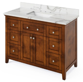 48'' W Chocolate Chatham Single Bowl Vanity Base with Calacatta Vienna Quartz Countertop and Undermount Rectangle Bowl, 49'' W x 22'' D x 36'' H