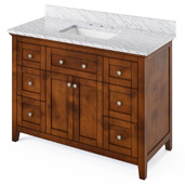 48'' W Chocolate Chatham Single Bowl Vanity Base with White Carrara Marble Countertop and Undermount Rectangle Bowl, 49'' W x 22'' D x 36'' H