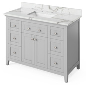48'' W Grey Chatham Single Bowl Vanity Base with Calacatta Vienna Quartz Countertop and Undermount Rectangle Bowl, 49'' W x 22'' D x 36'' H