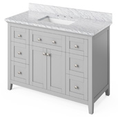 48'' W Grey Chatham Single Bowl Vanity Base with White Carrara Marble Countertop and Undermount Rectangle Bowl, 49'' W x 22'' D x 36'' H