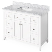 48'' W White Chatham Single Bowl Vanity Base with White Carrara Marble Countertop and Undermount Rectangle Bowl, 49'' W x 22'' D x 36'' H