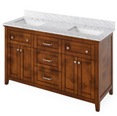 60'' W Chocolate Chatham Double Bowl Vanity Base with White Carrara Marble Countertop and Two Undermount Rectangle Bowls, 61'' W x 22'' D x 36'' H