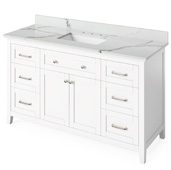 60'' W White Chatham Single Bowl Vanity Base with Calacatta Vienna Quartz Countertop and Undermount Rectangle Bowl, 61'' W x 22'' D x 36'' H