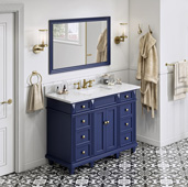 48'' W Hale Blue Douglas Single Bowl Vanity Base with White Carrara Marble Countertop and Undermount Rectangle Bowl, 49'' W x 22'' D x 36'' H