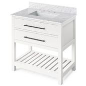 36'' W White Wavecrest Single Bowl Vanity Base with White Carrara Marble Countertop and Undermount Rectangle Bowl, 37'' W x 22'' D x 36'' H