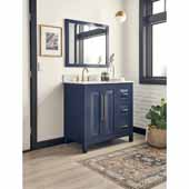 Cade Contempo Bathroom Vanity with Carerra White Marble Top & Sink, Hale Blue, 36''W x 22''D x 36''H