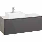 48' Costrel Modern Wall Mounted Vanity In Grey, 47-1/4'W X 18-1/2'D X 22-5/16'H
