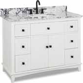 48'' White Savino Vanity With White And Black Top, 48''W X 22D X 36''H