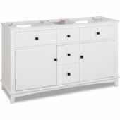 60'' White Savino Double Sink Vanity, Base Only, 59''W X 21-1/2''D X 35''H