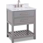 30'' Grey Wavecrest Vanity With Engineered White Carrara Marble Top, 30''W X 22D X 36''H
