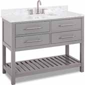 48'' Grey Wavecrest Vanity With Engineered White Carrara Marble Top, 48''W X 22D X 36''H