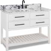 48'' White Wavecrest Vanity With White And Black Top, 48''W X 22D X 36''H