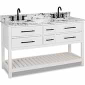 60'' White Wavecrest Double Sink Vanity With White And Black Top, 60''W X 22D X 35''H