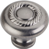 Lenior Collection 1-1/4'' Diameter Round Cabinet Knob with Rope Detail in Brushed Pewter