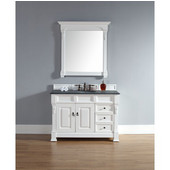 Brookfield 48'' Cottage White Single Vanity w/ Drawers with 2cm Absolute Black Rustic Stone Top