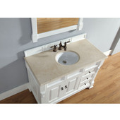 Brookfield 48'' Cottage White Single Vanity w/ Drawers with 2cm Galala Beige Stone Top