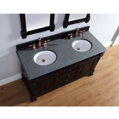 Brookfield 60'' Antique Black Double Vanity with 2cm Absolute Black Rustic Stone Top