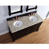 Brookfield 60'' Antique Black Double Vanity with 2cm Santa Cecilia Stone Top