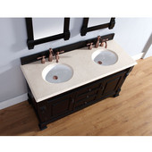Brookfield 60'' Antique Black Double Vanity with 2cm Galala Beige Marble Stone Top