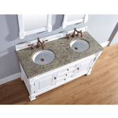 Brookfield 60'' Cottage White Double Vanity with 2cm Santa Cecilia Stone Top