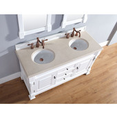 Brookfield 60'' Cottage White Double Vanity with 2cm Galala Beige Marble Stone Top