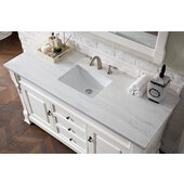 Brookfield 60''W Bright White Single Sink Bath Vanity with 3cm (1-1/5'') Thick Arctic Fall Solid Surface Top