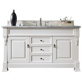 Brookfield 60''W Bright White Single Sink Bath Vanity with 3cm (1-1/5'') Thick Carrara Marble Top