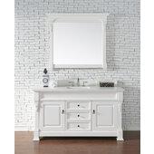 Brookfield 60''W Bright White Single Sink Bath Vanity with 3cm (1-1/5'') Thick Classic White Quartz Top