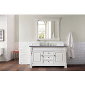 Brookfield 60''W Bright White Single Sink Bath Vanity with 3cm (1-1/5'') Thick Charcoal Soapstone Quartz Top