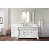 Brookfield 60''W Bright White Single Sink Bath Vanity with 3cm (1-1/5'') Thick Eternal Serena Quartz Top