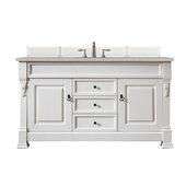 Brookfield 60''W Bright White Single Sink Bath Vanity with 3cm (1-1/5'') Thick Jasmine Pearl Quartz Top